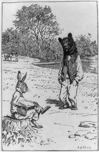Brer Rabbit Seated on Stump,Talking to Brer Bear,1892,Children,Brier INFINITE PHOTOGRAPHS Photo