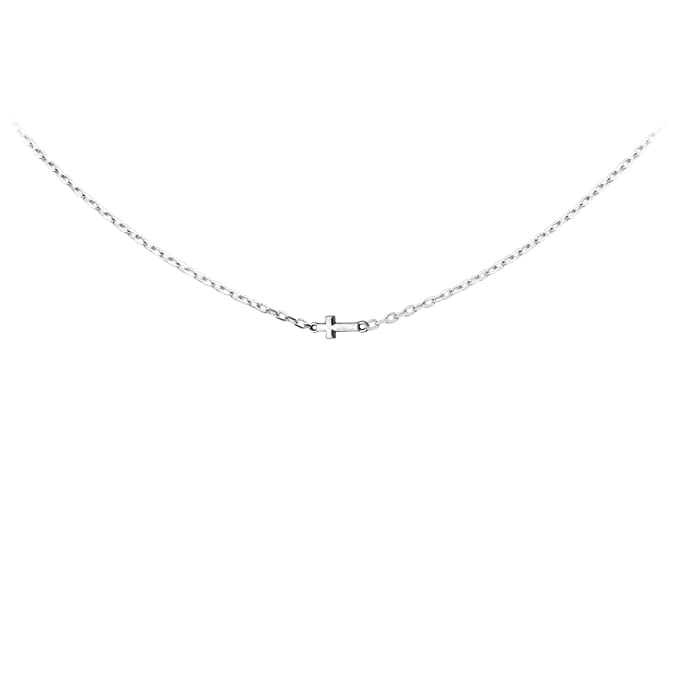 Loluso-Designs Silver Horizontal Sideways Cross Yellow Gold or Silver Plated Necklace Chain ZVG3OE