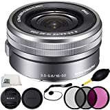 Sony SELP1650 16-50mm Power Zoom Lens (Silver, White Box) 7PC Accessory Kit. Includes Manufacturer Accessories + 3PC Filter Kit (UV-CPL-FLD) + Cap Keeper + Dust Blower + Microfiber Cleaning Cloth