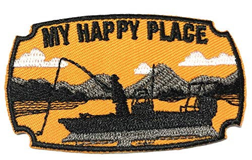 My Happy Place Fishing Theme Embroidered Patch Iron-on or Sew-on National Park Outdoor Series Embroidered Patch Iron-on or Sew-on Emblem Badge DIY Appliques Application Patches