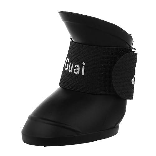 TOOGOO£šR£©Negro M, Zapatos de mascota Botines de goma Botas de lluvia impermeable de perro: Amazon.es: Zapatos y complementos