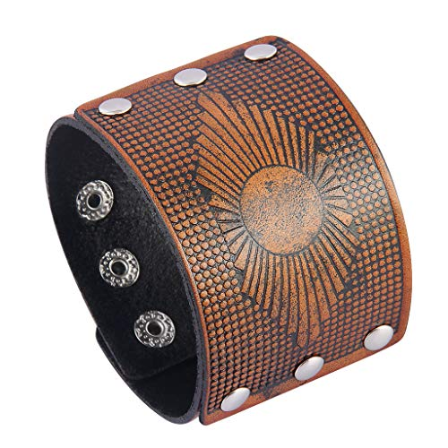 Jenia Mens Leather Cuff Bracelet Gothic Wrap Bracelets Vintage Belt Adjustable Punk Leather Wristbands for Men, Women, Boy, Girl, Rocker, Biker