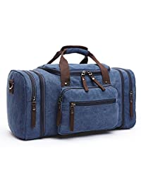 Toupons 20.8'' Large Canvas Travel Tote Luggage Men's Weekender Duffle Bag (Blue)