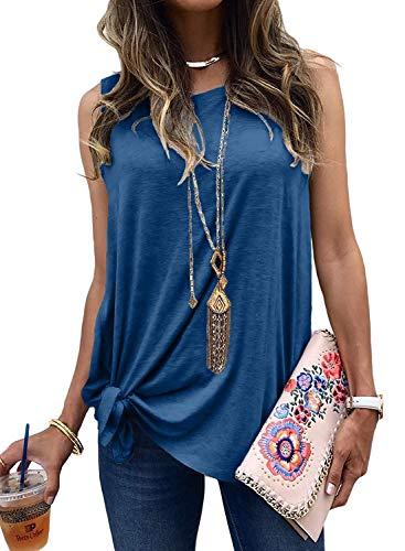 - Logtem Womens Sleeveless Twist Front Plain Long Tank Top Blouse Shirts Blue XL