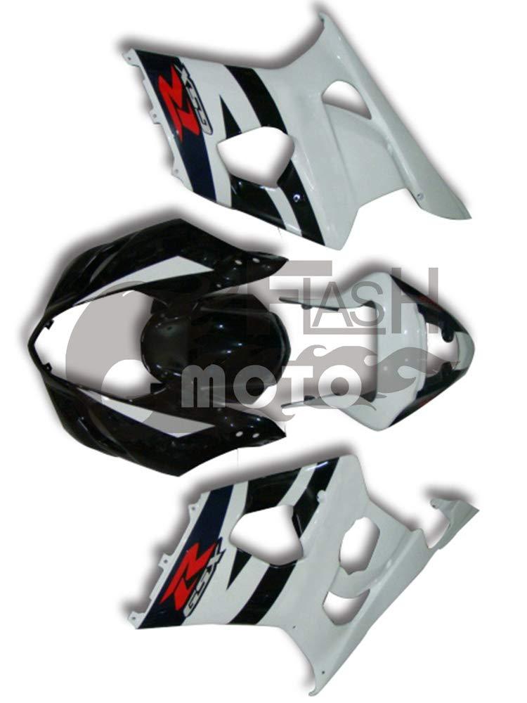 FlashMoto suzuki 鈴木 スズキ K3 GSXR1000 2003 2004用フェアリング 塗装済 オートバイ用射出成型ABS樹脂ボディワークのフェアリングキットセット (ホワイト,ブラック)   B07M9KRJTJ