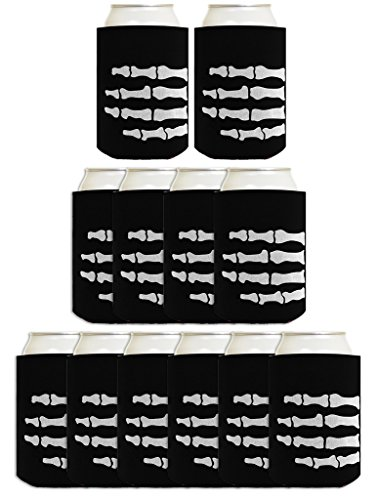 Funny Halloween Beer Coolie Skeleton Hand Bones Pirate or Zombie Costume Accessory 12 Pack Can Coolie Drink Coolers Coolies