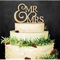 Mr and Mrs Cake Toppers, KOOTIPS Wooden Wedding Cake Topper Party Cake Decoration (Mr and mrs cake topper B)