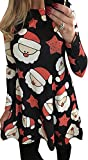 For G and PL Women Christmas Long Sleeve Dress Star & Santa 2XL