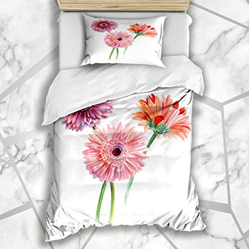 Ahawoso Duvet Cover Sets Twin 68X86 Pink Daisy Bouquet Three Gerberas Watercolor Sketch Summer Nature Red Flower Drawing Artistic Bloom Microfiber Bedding with 1 Pillow Shams