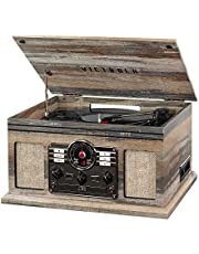 Victrola 6-in-1 Nostalgic Bluetooth Record Player with 3-Speed Turntable, Farmhouse Shiplap Grey, 1SFA (VTA-200B-FSG)