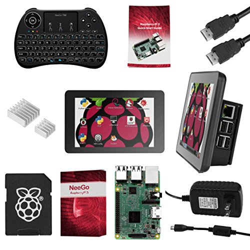 Raspberry Pi 3 Ultimate Starter Kit Complete Set Includes Raspberry Pi 3 Model B Motherboard, 7 Touchscreen Display, Power Supply, 16GB SD Card, 2 Heatsinks, Official Case & HDMI Cable & Keyboard (Raspberry B Kit)