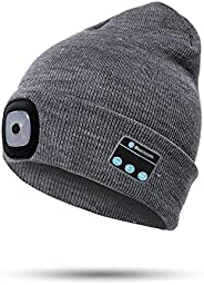 LED Beanie Light with Bluetooth Hat Ultra-Bright Hands-Free Hat Light USB Rechargeable Headlamp Winter Warm Ou