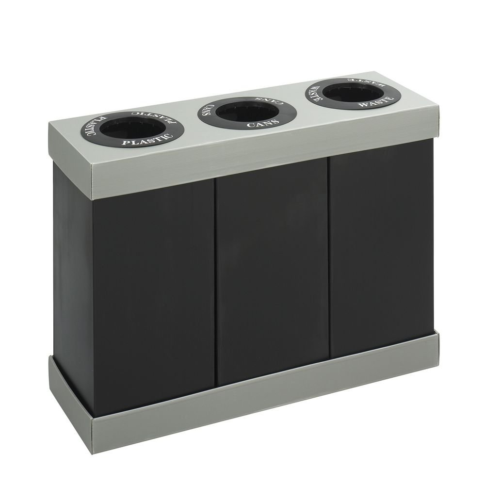 ** At-Your-Disposal Recycling Center, Polyethylene, Three 28-gal Bins, Black **