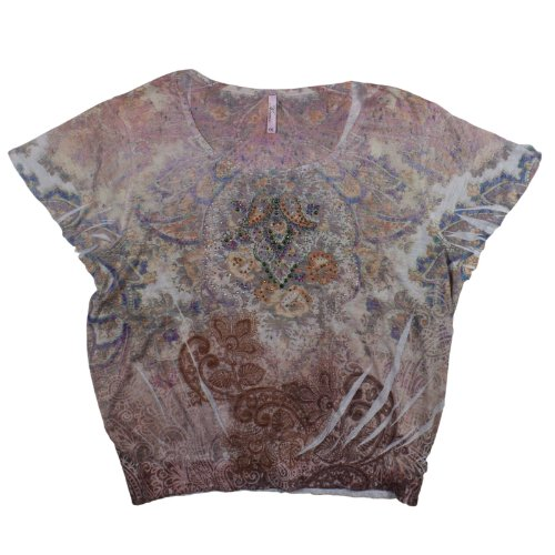 Sublimation Top Peasant - Womens Kiara Sublimation Flutter Sleeve Peasant Top (Small, Creme/Coral)