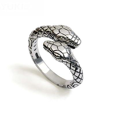 173861b74f3b HFJ YIE H Joyería tailandesa de plata hombres anillo de la cola doble  serpiente dedo pequeño anillo anillo