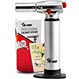 Jo Chef Kitchen Torch, Blow Torch - Refillable Butane Torch With Adjustable Flame - Culinary Torch, Creme Brûlée Torch For Cooking Food, Baking, BBQ & More + FREE Recipe eBook