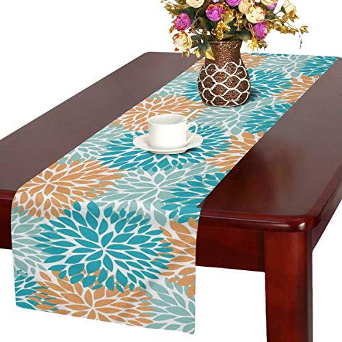 InterestPrint Dahlia Pinnata Flower Blue and Orange Table Runner Cotton Linen Cloth Placemat for Office Kitchen Dining Wedding Party Banquet 16 x 72 Inches (Orange Table Runner)