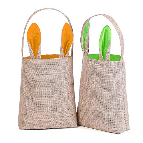 - VGoodall Easter Bunny Bag,Easter Egg Basket Bunny Ears Design Gift Bag for Egg Hunts Dual Layer with Jute Cloth Material Easter Tote Handbag for Party Favor Gifts,2PCS