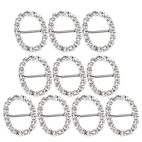 (10pcs 20mm Oval Crystal Buckles Ribbon Sliders Wedding Embellishment Silver)