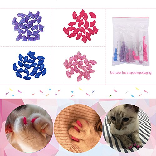 Eyourlife 80Pcs Soft Pet Cat Nail Caps Claws Control Paws of 4 Kinds Cat Pet Kitten with Glue Claws Control Paws Off Size XS - Soft Claws Kittens