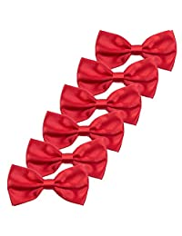 6PCS Boys Children Formal Bow Ties - Adjustable Solid Color Pre Tied Bowties (Red)