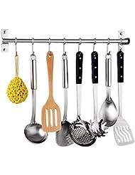 gris para colgar ollas negro con 4 ganchos extra/íbles multifuncional Soporte de pared para tapa de olla estante de cocina no requiere taladros organizador de utensilios de cocina