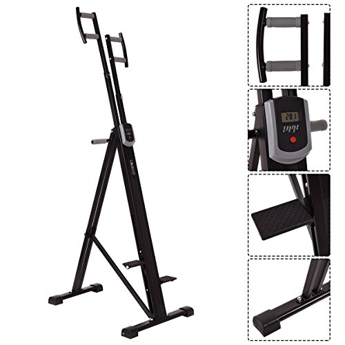 Cirocco Folding Stair Stepper Vertical Climber Exercise Cardio Machine w/ LCD Display | Strong Sturdy Total Full Body Aerobic Anaerobic Workout Fitness Equipment for Calorie Fat Burn Leg Bicep Triceps by Cirocco