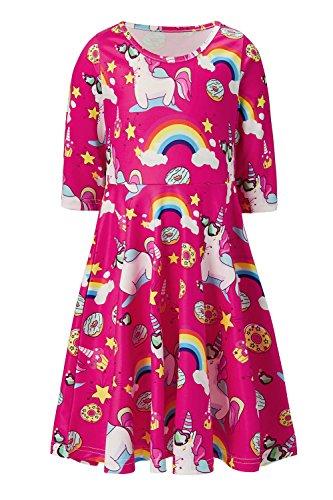 Funnycokid Girls Summer Dresses 3/4 Sleeve Donut Unicorn Birthday Sundress 8-9 T (3/4 Sleeve Birthday)