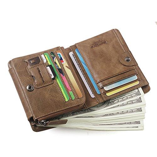 a basso prezzo 31dc1 8e319 Uomo Pelle RFID Blocking Portafogli Tri-fold Portamonete Carta di credito  borsellino Cerniera Moneta Borse con Schiocco (Cachi)