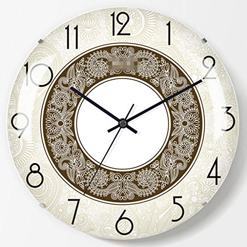 Happy Time Patterned Dial Light Yellow Digital Metal Pointer Curved Glass Tempered Glass Frameless Mute Electronic Wall Clock Bedroom Living Room Wall Clock,A - Round Dial Patterned