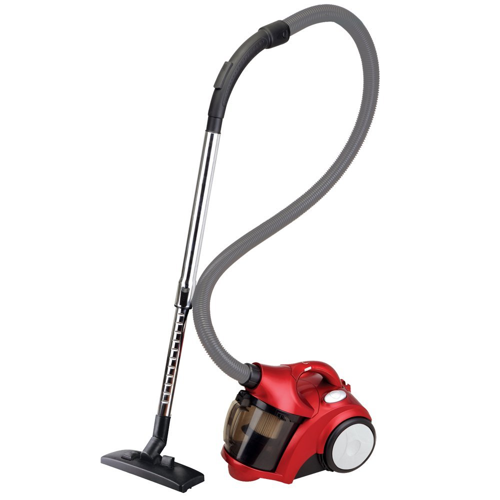 Ovente ST2510R Compact Cyclonic Bagless Canister Vacuum with Sofa Brush, Metallic Red, Adjustable Speed Control