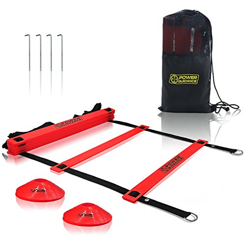 Power Guidance Agility Ladder (19 Feet) for Speed & Agility Trainning with 12 Heavy Duty Plastic Rungs, Ground Stakes, Carry Bag & 8 Sports Cones
