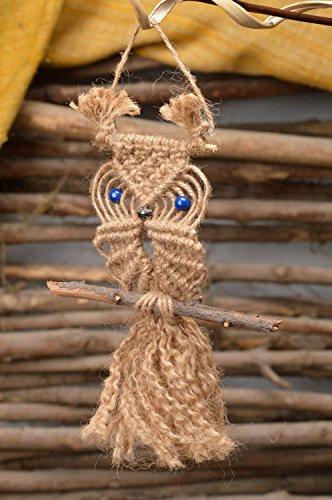 - Interior Macrame Wall Pendant Blue-Eyed owl Handmade eco Friendly Home Decor