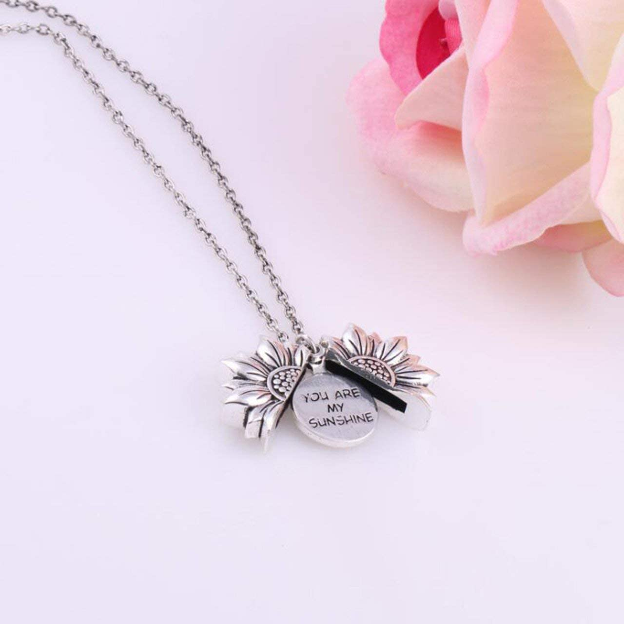 European and American Popular New Necklace Women Sunflower Double-Layer Lettering Necklace Alloy Flower Short Clavicle Chain