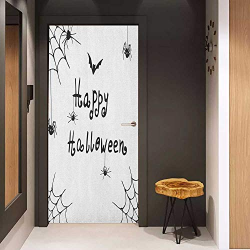 (Door Sticker Spider Web Happy Halloween Celebration Monochrome Hand Drawn Style Creepy Doodle Artwork Glass Film for Home Office W36 x H79 Black)