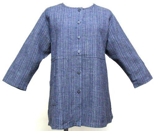 ショートカット団結ミシン日本製 久留米織 絣風 和柄服 チュニック 七分ブラウス 前開きブラウス 文人柄
