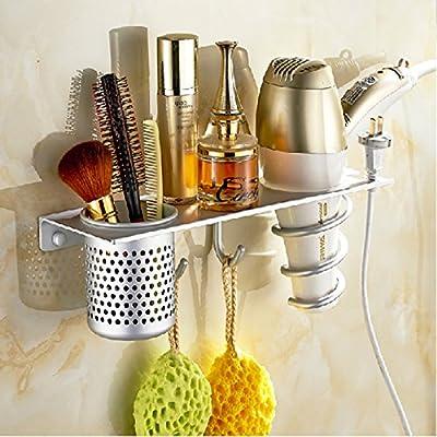 Montado en la pared de aluminio baño/baño vida diaria muebles cepillo de dientes organizador secador de pelo soporte de almacenamiento toalla estante ...