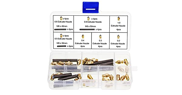 OCR M6 Barrel Stainless Steel Nozzle Throat and 7 Size Brass Extruder Nozzle Assortment Kit for Makerbot MK8 3D Printer 40PCS Ocrtech