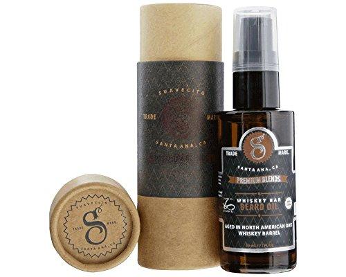 Suavecito Premium Blends Beard Oil – Whisky Bar Beard Conditioning Serum for Men (1 FL oz), Whiskey Bar