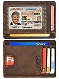 Spiex Slim Minimalist Wallet for Men & Women RFID Blocking Front Pocket Wallet (Crazy Horse Leather Dark Brown)