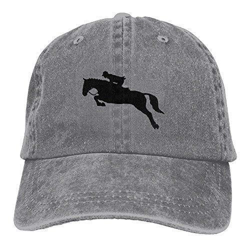 Horse Show Jumping Plain Adjustable Cowboy Cap Denim Hat for Women and Men ()