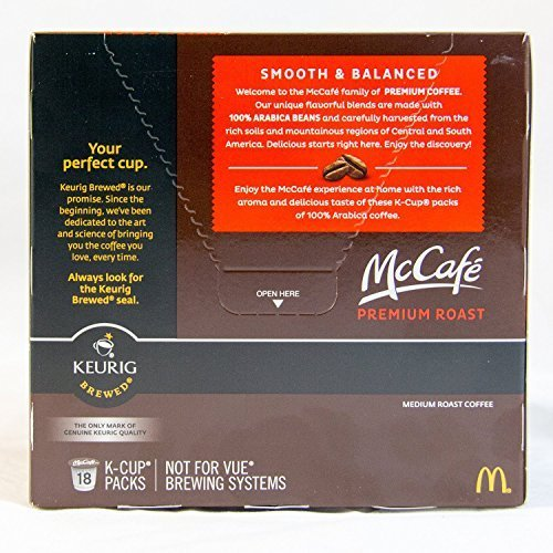 McCafé Premium Roast Medium K-Cup Packs, 6.2 oz - 18 count (Pack of 2)