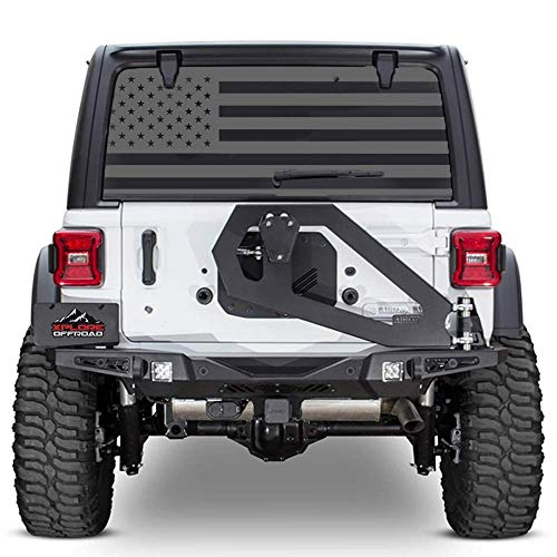 XPLORE OFFROAD - Jeep Wrangler American Flag Rear Window Decal (Black)