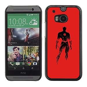 GOODTHINGS ( NO PARA HTC ONE MINI 2) Funda Imagen Diseño Carcasa Tapa Trasera Negro Cover Skin Case para HTC One M8 - superhéroe traje rojo de gran alcance negro fuego