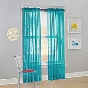 "No. 918 Calypso Sheer Voile Rod Pocket Curtain Panel, 59"" x 63"", Sky Blue (One Panel)"