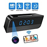 Camera Clock,Wireless Security Cam Video Recorder with Motion Detection and Night Vision Alarm Push 140 Angle HD 1080P Adjust Definition Sync with App Time and Monitor Screen
