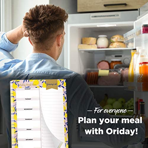 "Oriday Weekly Magnetic Meal Planner Notepad with Tear Off Perforated Grocery Shopping List Checklist for Fridge Door, Kitchen - 52 Sheets, 6"" X 9"" - Perfect for Weekly Diet Prep (Menu Planning Pad) 3"