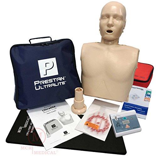 Basic CPR Training Kit w Prestan Ultralite CPR Manikin, WNL Essentials AED Trainer, MCR Kneeling Mat