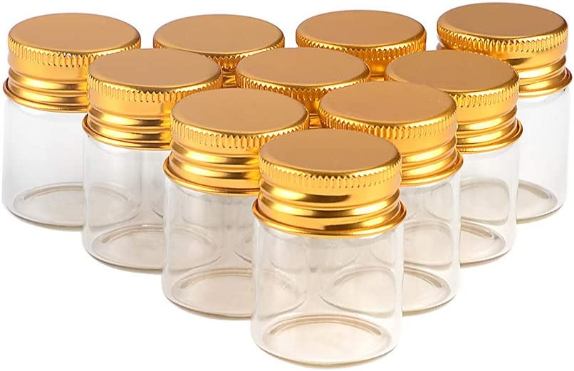 15ml 50units Empty Seal Jars Glass Bottle with Aluminium Gold Color Screw Cap Sealed Liquid Food Gift Container (50, 15ML-Gold-Cap)