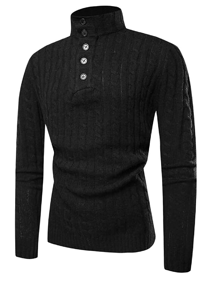 Hajotrawa Mens Turtleneck Jumper Knitted Stylish Slim Fit Pullover Sweaters